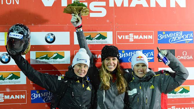 Germany's second placed Marion Thees, left, winner Noelle Pikus-Pace from the United Statesand Germany's third placed Anja Huber  celebrate on the podium after the women's Skeleton World Cup race  in Koenigssee, Germany, Friday, Jan. 11, 2013. (AP Photo/Kerstin Joensson)