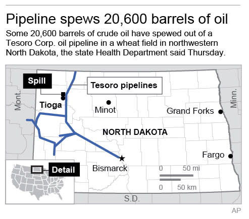Map shows pipeline and location of spill; 2c x 3 inches; 96.3 mm x 76 mm;