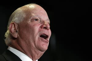 """FILE - In this Nov. 6, 2012, photo, Sen. Ben Cardin, D-Md., speaks with supporters during a celebration rally at M&T Bank Stadium in Baltimore. The Senate is taking up legislation Wednesday, Dec. 5, 2012, that would end four-decade-old trade restrictions that are blocking U.S. businesses from enjoying the benefits of a more-open Russian market. The bill also imposes sanctions on Russian human rights violators. The last apparent hurdle to Senate action on the measure came with a decision to accept the House version of human rights legislation that was attached to the trade bill. Cardin, who authored the Senate version, indicated that he was willing to accept the House approach so that the bill can be passed. """"This bill may only apply to Russia, but it sets a standard that should be applied globally,"""" Cardin said in a statement. """"I encourage other nations to follow our lead."""" (AP Photo/Jose Luis Magana, File)"""