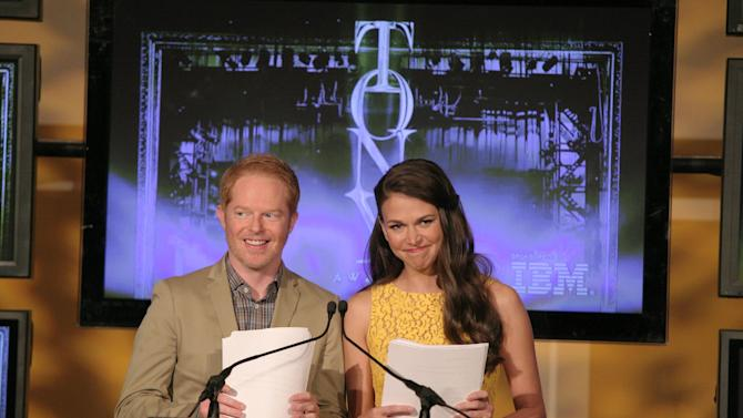Actor Jesse Tyler Ferguson, left, and actress Sutton Foster, right, appear on stage at the 67th Annual Tony Award Nominations announcement on Tuesday April, 30, 2013 in New York. (Photo by Andy Kropa/Invision/AP)