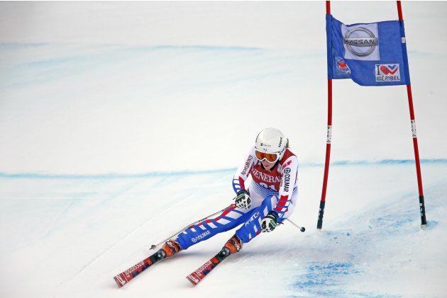 Marine Gauthier of France skis during the women's World Cup super combined downhill race in Meribel, in the French Alps