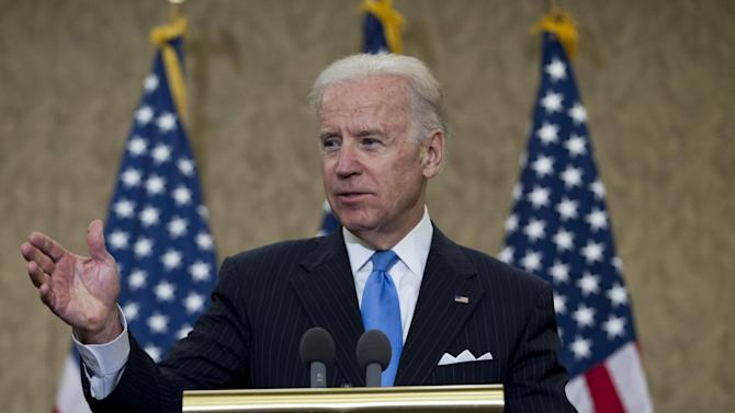 Vice President Joe Biden speaks during the dedication of a room in the Capitol Visitors Center to slain congressional staffer Gabriel Zimmerman on Capitol Hill, in Washington, Tuesday, April 16, 2013. Zimmerman died two years ago in the Tucson, Ariz., attack that critically wounded Giffords and took six lives. (AP Photo/Jose Luis Magana)