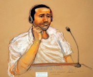 This November 9, 2011 courtroom sketch by Janet Hamlin, shows terror suspect Abd al-Rahim al-Nashiri. Nashiri, the alleged Saudi mastermind of an attack on the USS Cole in Yemen appeared in front of a military tribunal at Guantanamo Tuesday for a pre-trial hearing