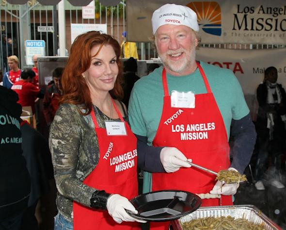 Melissa Gilbert and Timothy Busfield attend the Los Angeles Mission's Christmas Eve for the homeless at the Los Angeles Mission on December 24, 2012 in Los Angeles, California -- Getty Images