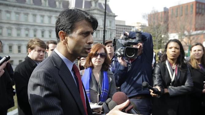 Louisiana Gov. Bobby Jindal speaks with reporters outside the White House in Washington, Monday, Feb. 25, 2013, following meeting between members of the National Governors Association (NGA) and President Barack Obama. (AP Photo/Pablo Martinez Monsivais)