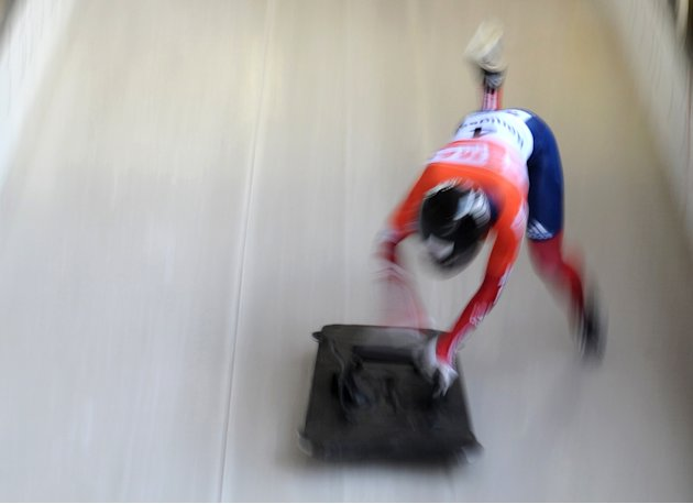 TOPSHOTS Britain's Shelley Rudman competes to win the women's Skeleton World Cup in Schoenau, southern Germany, on January 13, 2011. Shelley Rudman of Britain won the competition ahead of Marion Thees