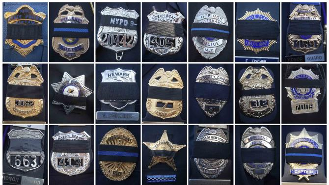 Combination image shows mourning bands placed over different police badges at the funeral of slain NYPD officer Rafael Ramos at Christ Tabernacle Church in the Queens borough of New York