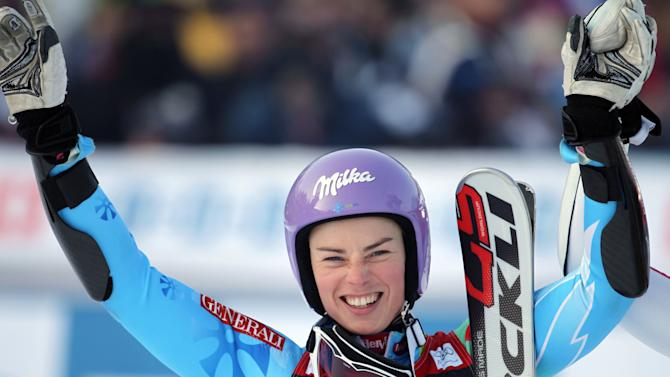 Slovenia's Tina Maze celebrates at finish line after taking second place in an alpine ski, women's World Cup giant slalom, in Maribor, Slovenia, Saturday, Jan. 26, 2013. (AP Photo/PierMarco Tacca)