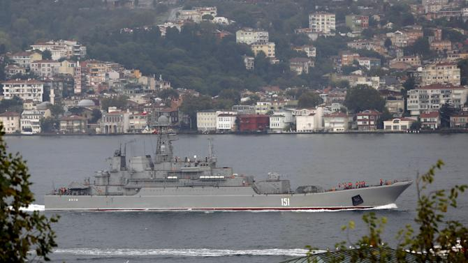 Russian naval landing ship Azov sails in the Bosphorus, on its way to the Mediterranean Sea, in Istanbul, Turkey