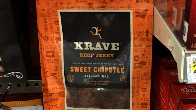 Packages of Krave beef jerky are shown for sale at a store in Encinitas, California