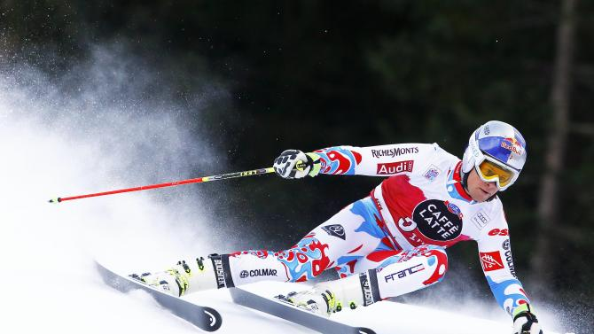 Pinturault of France clears a gate during the men's World Cup Giant Slalom skiing race in Alta Badia