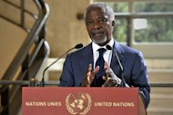 UN-Arab League envoy Kofi Annan speaks to the press in Geneva. Annan said his peace plan could be the last chance to avoid civil war in Syria, where a truce has failed to end 14 months of bloodshed that monitors say has killed nearly 12,000 people