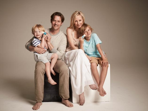 Anne Heche, James Tupper and their children Homer and Atlas --