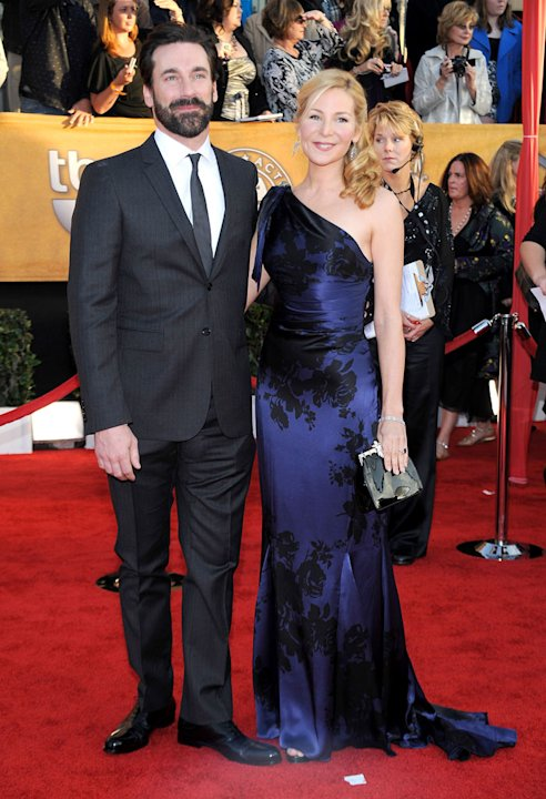 Jon Hamm and Jennifer Westfeldt arrive to the TNT/TBS broadcast of the 16th Annual Screen Actors Guild Awards held at the Shrine Auditorium on January 23, 2010 in Los Angeles, California.