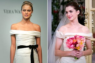 The bridal battle royale showcases Hathaway in a traditional, vintage-style wedding dress.
