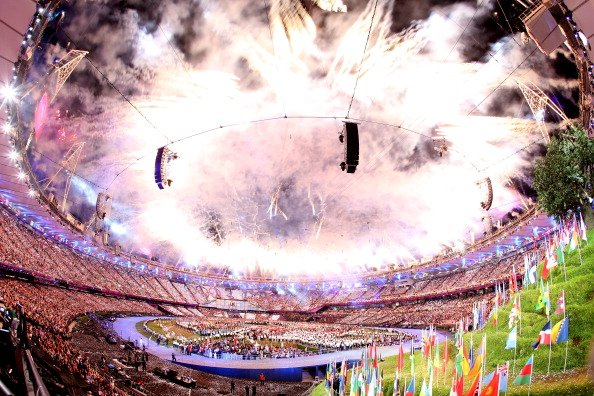 General View as fireworks illuminate the sky during the Opening Ceremony of the London 2012 Olympic Games at the Olympic Stadium on July 27, 2012 in London, England. (Photo by Ryan Pierse/Getty Images
