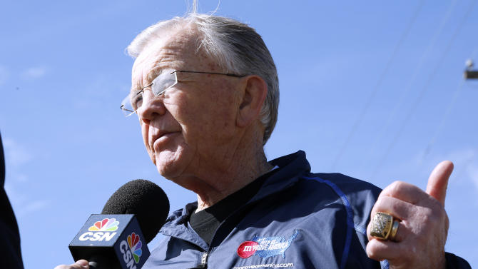 Former NFL head coach Joe Gibbs reacts during an interview at the launch of M&M'S 'M' Prove America' campaign, which is designed to fund the construction of Habitat for Humanity homes across the country, on Friday, Feb. 1, 2013 in New Orleans. (Jonathan Bachman / AP Images for Habitat For Humanity)