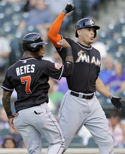 Stanton homers again, Marlins beat Rockies 6-5