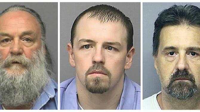 This photo combo of undated images provided by the Kansas Department of Corrections shows inmates, from left, Randy A. Ridens Sr., Allen M. Hurst and Scott A. Gilbert. The three inmates walked away from a minimum-security unit at the Lansing Correctional Facility in Kansas, Friday, May 10, 2013. Authorities believe that two armed men holed up in a northwest Missouri home are two of the inmates. (AP Photo/Kansas Department of Corrections)