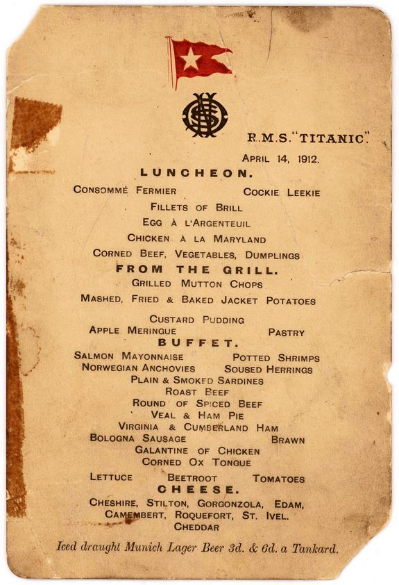 Titanic's Last Lunch Menu Up for Auction
