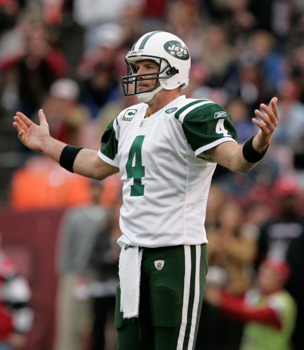 FILE - In this Dec. 7, 2008, file photo, New York Jets quarterback Brett Favre reacts to a missed pass during the second half on an NFL football game against the San Fransisco 49ers in San Francisco.