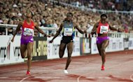 USA's Charonda Williams (L), Jeneba Tarmoh (C) and Bianca Knight compete during the women's 200m race of the DN Galan Diamond League athletics meeting at the Stockholm Olympic Stadium. Williams won