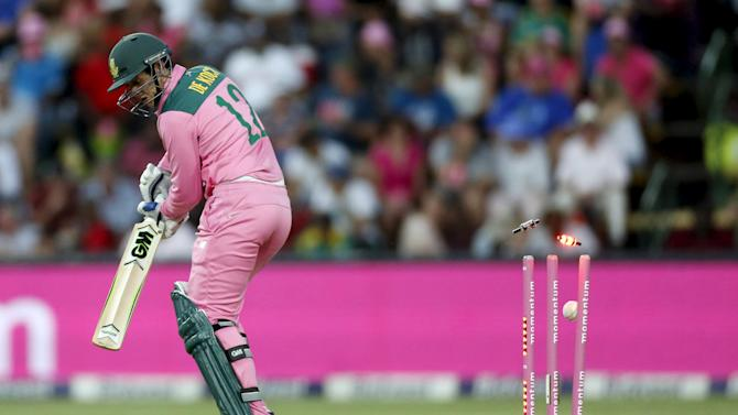 South Africa's Quinton de Kock is bowled during the fourth One Day International cricket match against England in Johannesburg