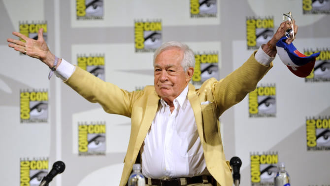 """Jack Larson, who played Jimmy Olsen in the 1950's TV series, """"The Adventures of Superman, attends the """"Superman"""" 75th Anniversary panel on Day 4 of the Comic-Con International on Saturday, July 20, 2013 in San Diego. (Photo by Chris Pizzello/Invision/AP)"""