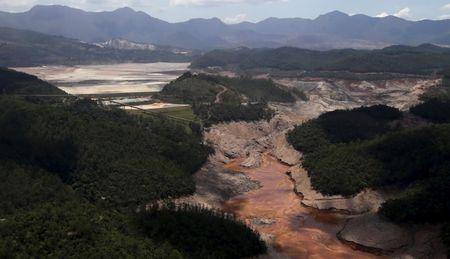 General view from above of a dam owned by Vale SA and BHP Billiton Ltd that burst, in Mariana, Brazil