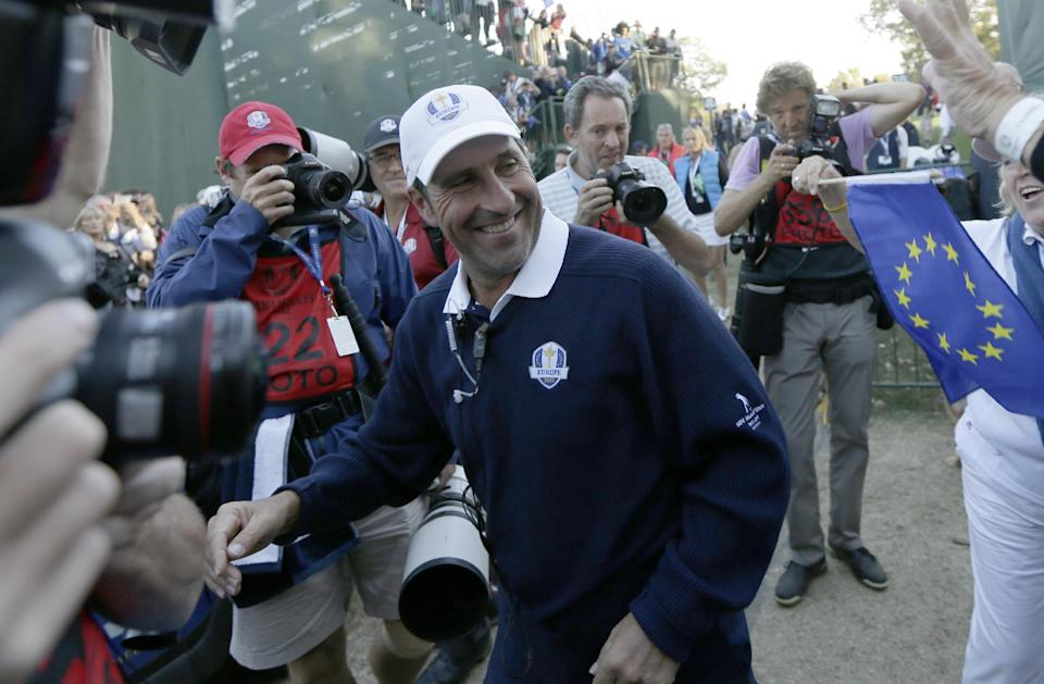 European team captain Jose Maria Olazabal celebrates after winning the Ryder Cup PGA golf tournament Sunday, Sept. 30, 2012, at the Medinah Country Club in Medinah, Ill. (AP Photo/David J. Phillip)