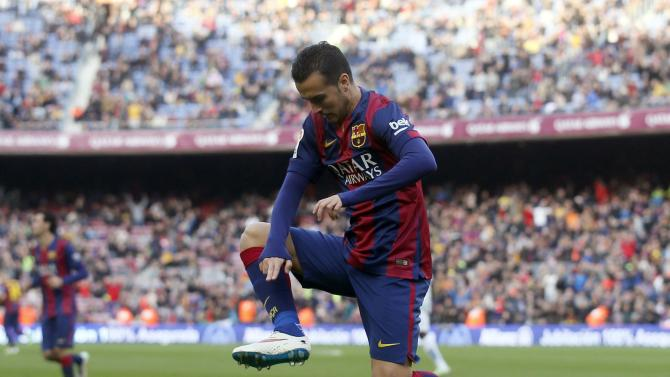 Barcelona's player Pedro Rodriguez celebrates a goal against Cordoba during their Spanish First division soccer match at Camp Nou stadium in Barcelona