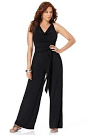 Avenue Plus Size Belted Halter Jumpsuit