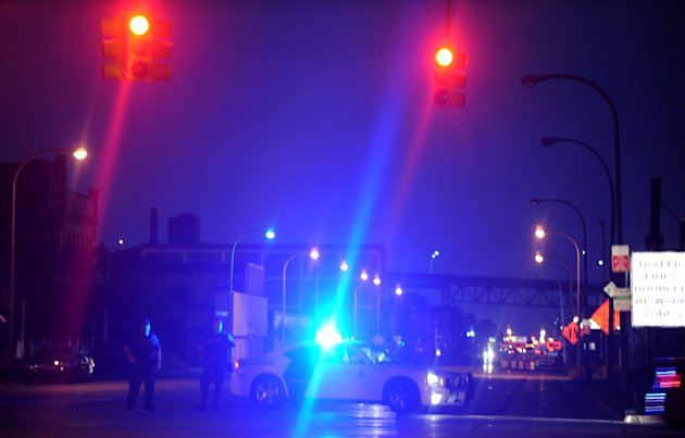 The U.S. Border patrol blocks Fort Street in Detroit following a bomb threat that closed  the Ambassador Bridge to Canada  Monday, July 17, 2012. Someone phoned in a threat from the U.S. side of the b