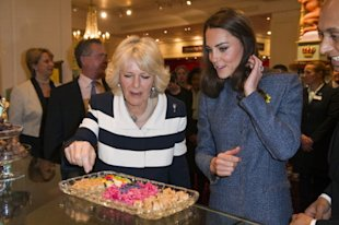 Duchess Camilla and Duchess Catherine sample sweets at London's Fortnum & Mason