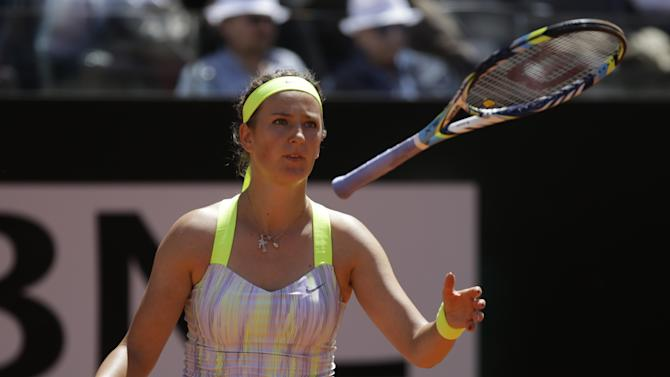 Belarus' Victoria Azarenka reacts after losing a point during her final match against Serena Williams, of the United States, at the Italian Open tennis tournament in Rome, Sunday, May 19, 2013. (AP Photo/Andrew Medichini)