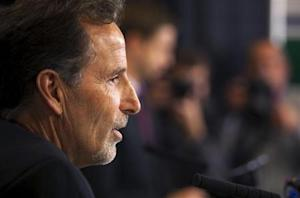 Vancouver Canucks new head coach Tortorella talks to the media after he was introduced during a news conference in Vancouver