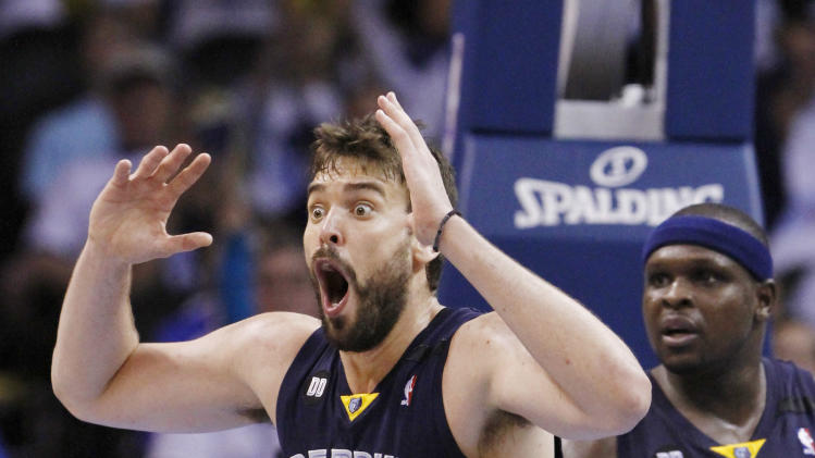 Memphis Grizzlies Marc Gasol reacts to a call against him during a play against the Oklahoma City Thunder in the second half of Game 5 of their Western Conference Semifinals NBA basketball playoff series in Oklahoma City, Wednesday, May 15, 2013.  Memphis won 88-84.  (AP Photo/Alonzo Adams)