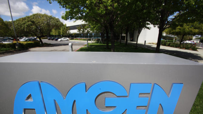 FILE - This April 20, 2010, file photo shows an exterior view of Amgen offices in Fremont, Calif. Drugmaker Amgen Inc. on Wednesday, Jan. 23, 2013 posted a 16 percent drop in fourth-quarter profit, as higher costs for production, marketing, research and other items offset higher sales for many of its biologic medicines. The results fell a bit short of Wall Street expectations. (AP Photo/Paul Sakuma, File)