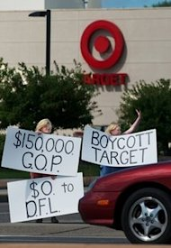 AP Photo/Craig Lassig: Protestors in front of a Minnesota Target following the company's contribution to a GOP candidate who opposes gay marriage.