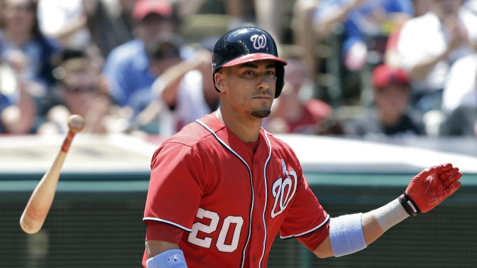 Washington Nationals' Ian Desmond tosses his bat after striking out against Cleveland Indians starting pitcher Corey Kluber to end the top of the fourth inning of a baseball game Sunday, June 16, 2013, in Cleveland. (AP Photo/Mark Duncan)