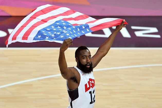 LONDON, ENGLAND - AUGUST 12: James Harden #12 of the United States celebrates winning the Men's Basketball gold medal game between the United States and Spain on Day 16 of the London 2012 Olympics Games at North Greenwich Arena on August 12, 2012 in London, England.  (Photo by Pascal Le Segretain/Getty Images)