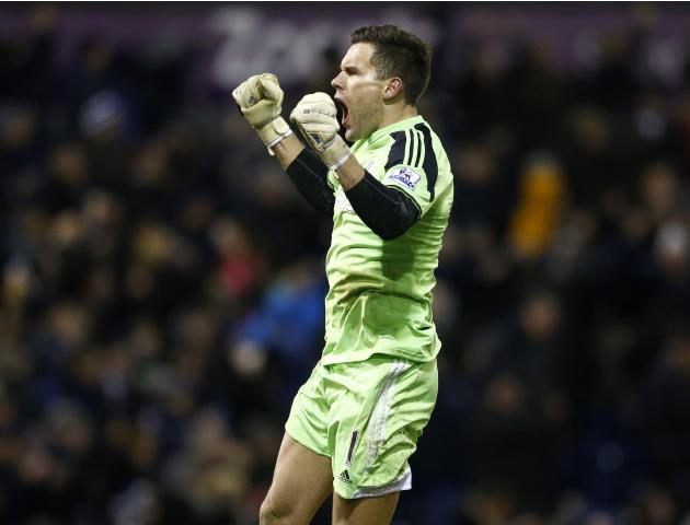 West Bromwich Albion goalkeeper Foster celebrates an equalising goal during their English Premier League soccer match against Chelsea at the Hawthorns in West Bromwich