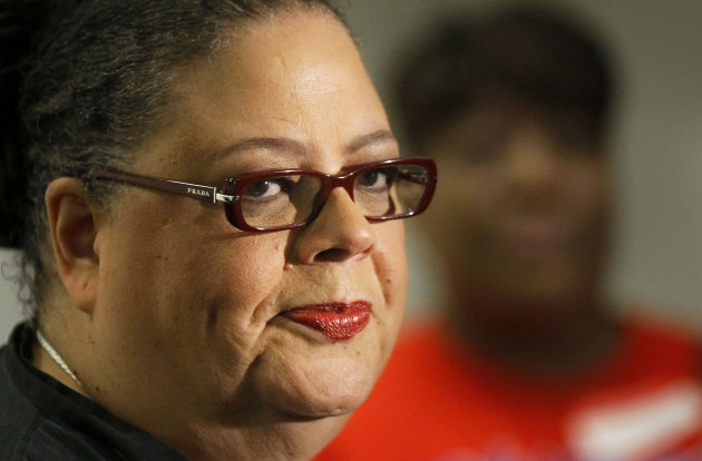 Karen Lewis, president of the Chicago teachers union listens to a question after meeting of the union&#39;s House of Delegates Friday, Sept. 14, 2012, in Chicago. Lewis told the delegates that a &quot;framework&quot; was in place to end the teachers strike. (AP Photo/Charles Rex Arbogast)