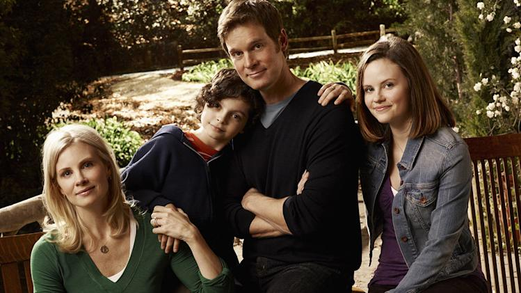 "Monica Potter as Kristina Braverman, Max Burkholder as Max Braverman, Peter Krause as Adam Braverman, and Sarah Ramos as Haddie Braverman in ""Parenthood."""