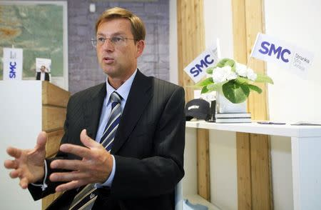 File photo of Cerar, leader of the SMC party, speaking during an interview in Ljubljana