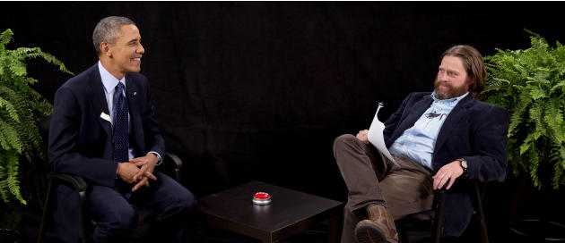 "This image from video released by Funny Or Die shows President Obama, left, with actor-comedian Zach Galifianakis during an appearance on ""Between Two Ferns,"" the digital short with a laser"