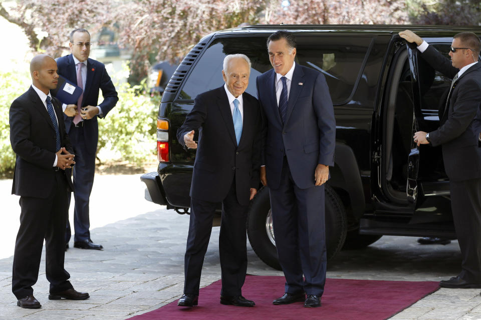 Republican presidential candidate and former Massachusetts Gov. Mitt Romney meets with Israel's President Shimon Peres, in Jerusalem, Sunday, July 29, 2012. (AP Photo/Charles Dharapak)