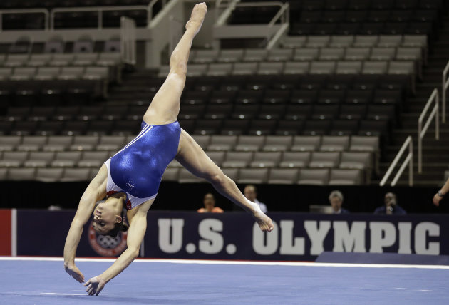 Jordyn Wieber rehearses her floor exercise routine during practice for the U.S. Olympic gymnastics trials, Wednesday, June 27, 2012, in San Jose, Calif. (AP Photo/Gregory Bull)