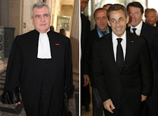 This combo picture shows former French president Nicolas Sarkozy (right) and his lawyer Thierry Herzog (AFP Photo/)