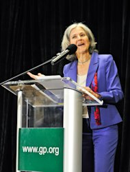 Green Party presidential candidate Jill Stein delivers her acceptance speech at the Green Party's convention in Baltimore on Saturday, July 14, 2012. Stein, a doctor who ran against Mitt Romney for Massachusetts governor a decade ago won the chance to challenge him again on Saturday, this time as the Green Party's presidential nominee. The internist from Lexington, Mass. blasted both Romney and President Barack Obama, saying both had become too dependent on donations from corporations in order to acquire office at the expense of the nation's citizens. (AP Photo/Laura-Chase McGehee)